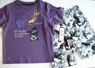 Kenne Cole Boys Tshirt Shirt and Shorts Set Size 4 4T New Retail $39
