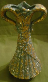 Vintage Art Deco Vase Hand Painted Green Gold White Textured Ceramic