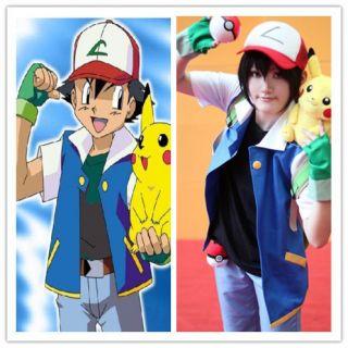 Pokemon Ash Ketchum Trainer Costume Shirt Jacket Gloves Hat