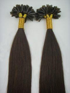 100S 18 Pre Keratin Nail Tipped Human Hair Extensions 04 Medium Brown