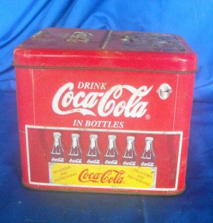 Coca Cola 2000 Miniature Tin Cooler Ice Chest 5 x 4 at Base 5 T