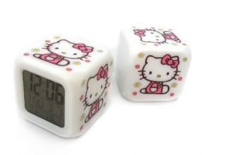 Gifts for Kids New 7 LED Colour Hello Kitty Digital Alarm Clock