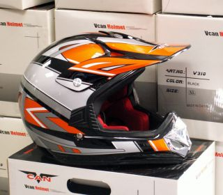 Kids Dirt Bike Helmet Youth XL Orange Black Vcan V310 Motox MX BMX Off