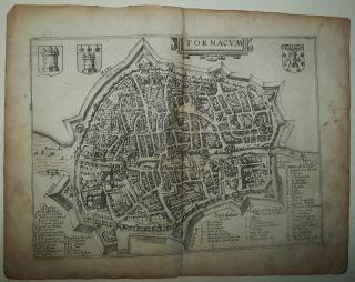 Tournai Belgium 1625 Guicciardini Antique Copper Engraved City Map