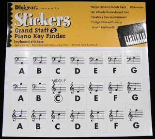 Grand Staff 2   Piano Key Finder Keyboard Stickers Decal Label Music