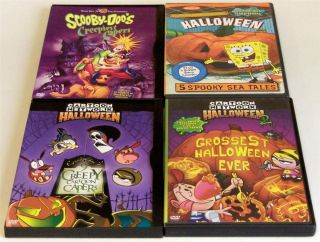 Lot 4 Kids Halloween DVDs Spongebob Scooby Doo Cartoon Network