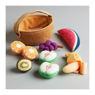 PC Plush Toy Fruit Basket Set Kids Play Cooking Food Kitchen