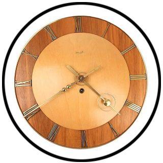 Kienzle 8 Day Wall Clock Art Deco Bauhaus Brass Oak Vintage Antique