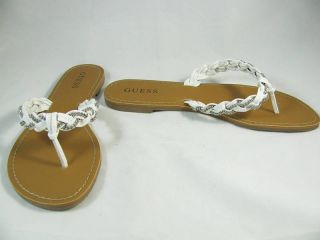Guess White w Silver Kiernan Leather Thong Sandals