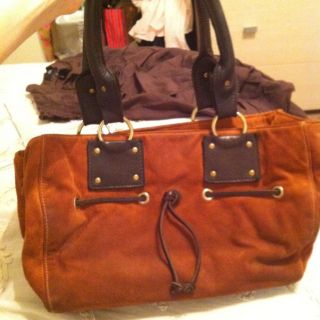 Kiki Pearl Orange Suede Handbag Gold Hardware Brown Leather Detail