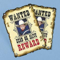 Western Wanted Photo Cards Birthday Kids Party Favors Toys Games Gifts