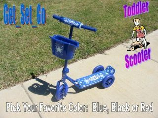 Toddler Scooter 3 Wheels Ride on Kids Kick Power Blue Boys Toy