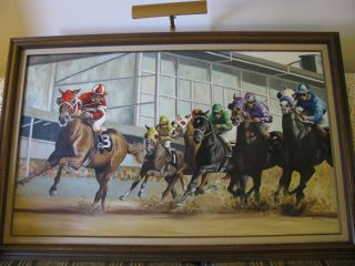 Horse Racing Fixing to Win Orig Acrylic Painting Canvas Framed Denise