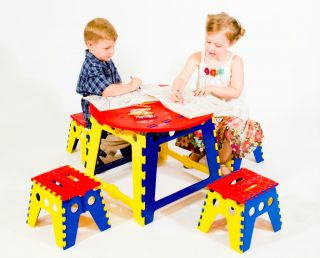 Kids Folding Table 4pc Stool Chair Set Preschool Games Arts Crafts or