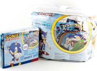 Sonic the Hedgehog Twin Single Bed Comforter & Sheet Set Kids Bedding