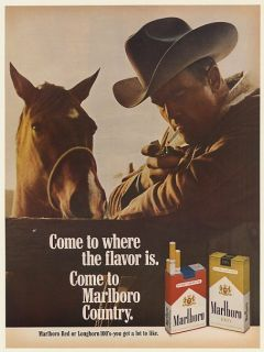 1968 Marlboro Country Horse Cowboy Man Lighting Cigarette with Zippo