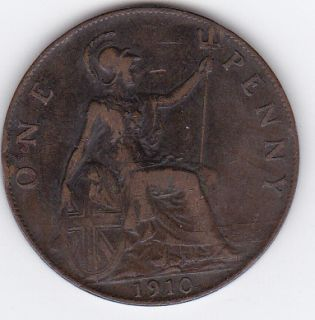 1910 Great Britain Penny King Edward