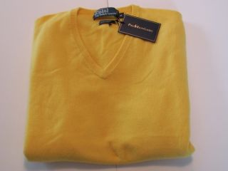 New Polo Ralph Lauren Mens Large Yellow Italian Cashmere V Neck