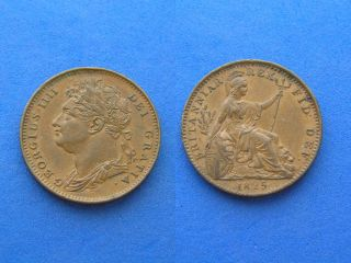 1825 UK Great Britain Farthing XF EF King George IV