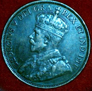 1914 Canada King George V Large Cent Penny RARE About Uncirculated 50