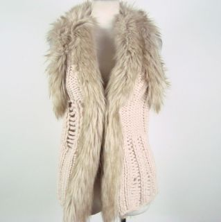 Kim Kardashian H&M Knit Off White Open Sweater Vest w/ Faux Fur Trim
