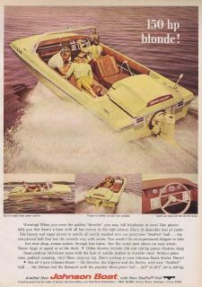 1966 Johnson 150 HP Blonde Boat Seafoil Hull Vintage Ad