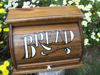 Breadbox Large Wood Kitchen Bread Box Roll Top Letters