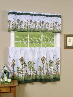 Home Sweet Home Kitchen Curtain Tier Valance Set 24 L Birdhouse