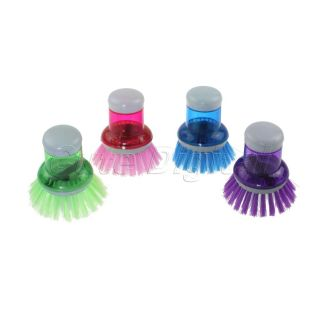 1x Kitchen Pot Pan Scrubber Liquid Soap Dispensing Brush Dish Washing