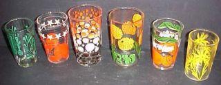 Vintage Swanky Swigs Kitchen Glasses Fruit Flower Polka Dot Etc