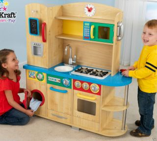 Boys Girls Pretend Play Natural Wood Primary Colors Play Kitchen 53186