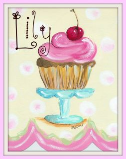 Cupcake print Personalized girl bedroom kitchen bakery wall decor