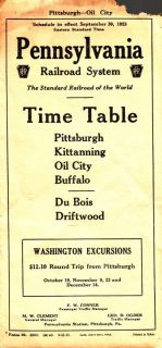 Pennsylvania Railroad Pittsburgh Kittanning Buffalo Timetable