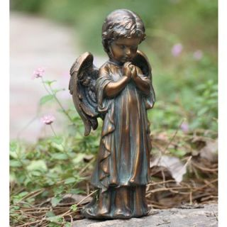 Bronze Praying Angel Statue Garden Memorial Figurine