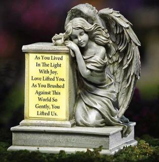Kneeling Guardian Angel Solar Lighted Garden Memorial Statue