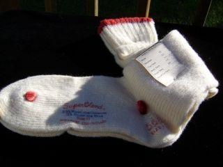 Vtg Seneca Knitting Mills Co Super Blend Wool Socks NOS Sz 11 30s Red