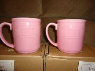 Longaberger Woven Traditions Pottery Horizon of Hope Pink Mugs  set of