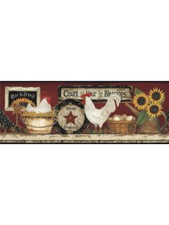 Roosters Chickens Kitchen Wallpaper Border Deep Red Backgrd CB5538BD