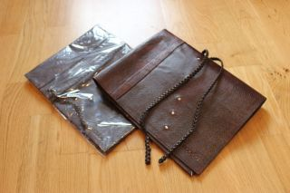 Chefs Leather Knife Knives Roll Case Bag Brown