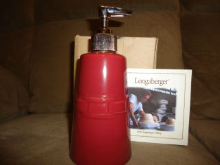 Longaberger Woven Traditions Pottery Paprika Soap Pump Dispenser  RARE