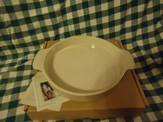 Longaberger Woven Traditions Pottery Ivory Cake Pan New in Box