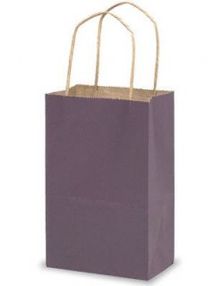 10 Purple Kraft Paper Gift Handle Bags Small 5 1 4 x 3 1 2 x 8 1 4