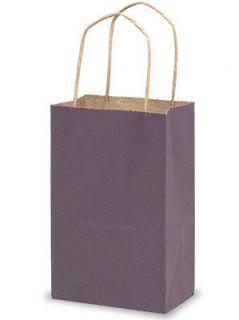 10 Purple Kraft Paper Gift Handle Bags Small 5 1 4 x 3 1 2 x 8 1 4