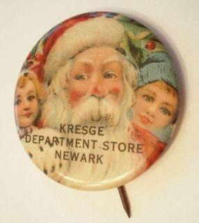 Vintage Kresge Department Store Newark Santa Claus Advertising Pinback