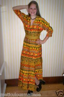 Vintage 1970s Mod Hippie Maxi Fall Print Dress by Krist