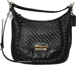 Coach $398 Kristin Woven Black Leather Hobo Shoulder Crossbody Bag
