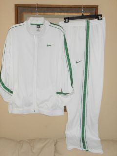 Nike Mens White Basketball Tracksuit Warmup Jogging Pants Jacket L XL