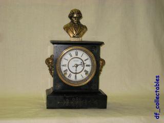 Antique Kroeber Mantel Cast Iron Clock with Beethoven Statue