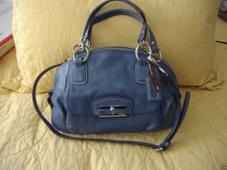 358 Coach Kristin Leather Domed Satchel Shoulder Bag Denim Blue 19296