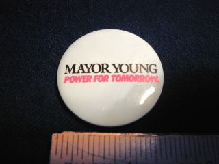 Coleman Young Mayor of Detroit Campaign Button Police Kwame